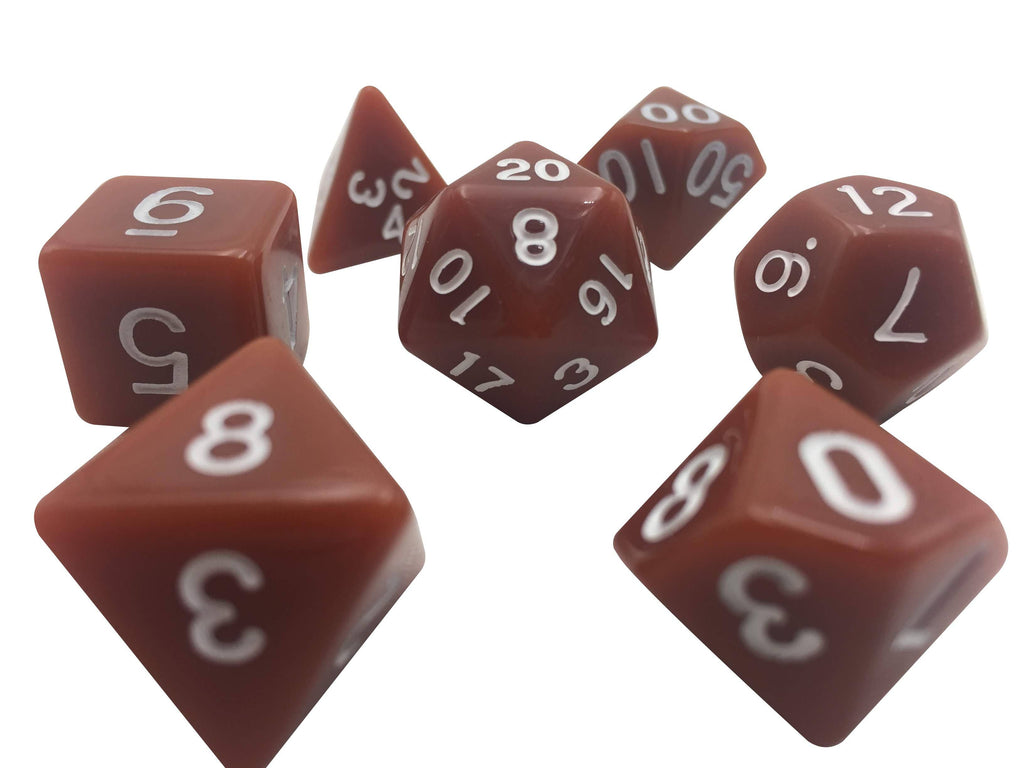 Polyhedral Dice Set - Brown With White Numbers  Set Of 7 Polyhedral RPG Dice