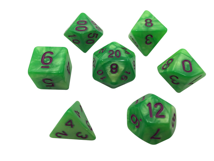 Polyhedral Dice Set - Contagion - Set Of 7  Light Green With Dark Purple Numbering Polyhedral RPG Dice For Dungeons And Dragons