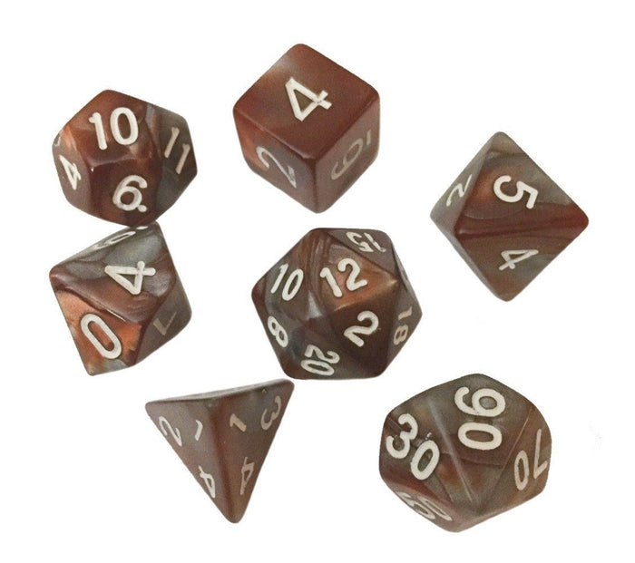 Polyhedral Dice Set - Copper And Steel Swirled Color - Pack Of 7 Polyhedral Dice (7 Die In Set) | Role Playing Game Dice | D4, D6, D8, D10, D%, D12, And D20