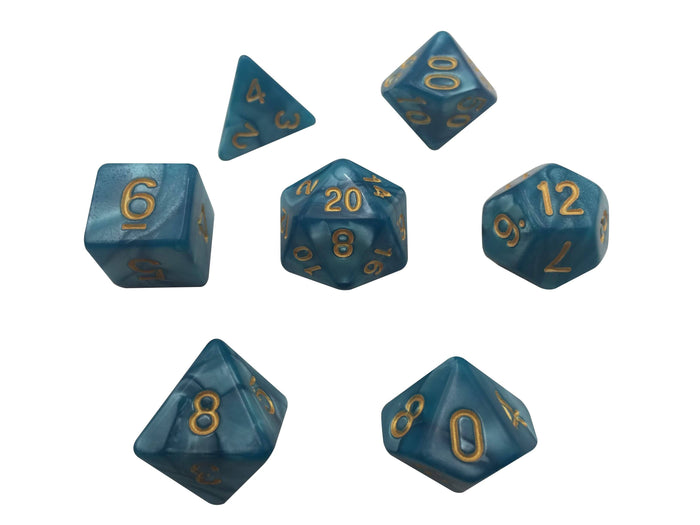 Polyhedral Dice Set - Dark Blue Marbled Color With Gold Numbers  Set Of 7 Polyhedral RPG Dice