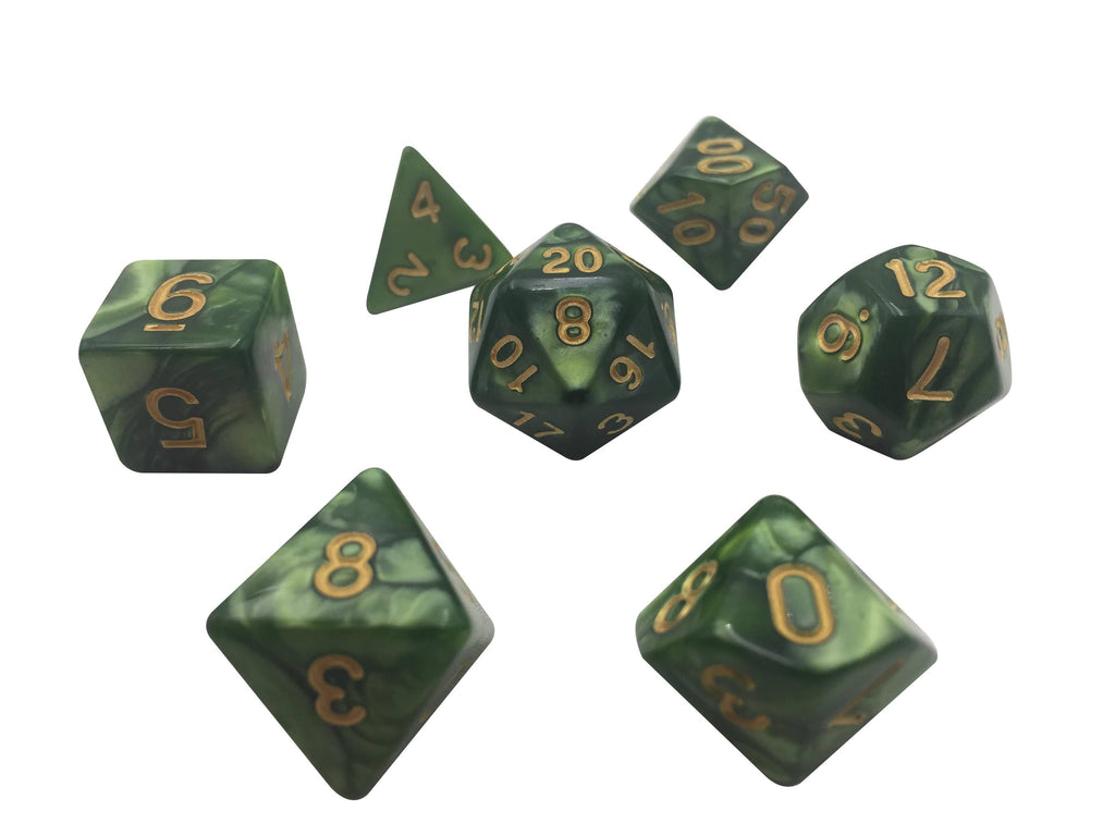Polyhedral Dice Set - Dark Green Marbled Dice With Gold Numbers-  7 Polyhedral RPG Dice For D&D