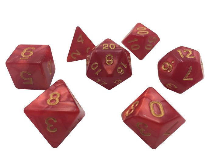 Polyhedral Dice Set - Dark Red Marbled Color With Gold Numbers  Set Of 7 Polyhedral RPG Dice