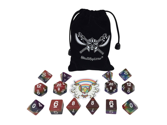 Polyhedral Dice Set - Double Rainbow - Two Sets Of 7  Rainbow Colored Polyhedral RPG Dice For Dungeons And Dragons With Double Rainbow Sticker And Dice Bag With Logo
