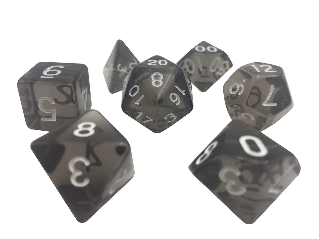 Polyhedral Dice Set - Gray Translucent Color - Set  7 Polyhedral RPG Dice With White Numbers