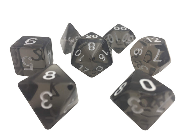 Gray Translucent Color Set 7 Polyhedral Rpg Dice With