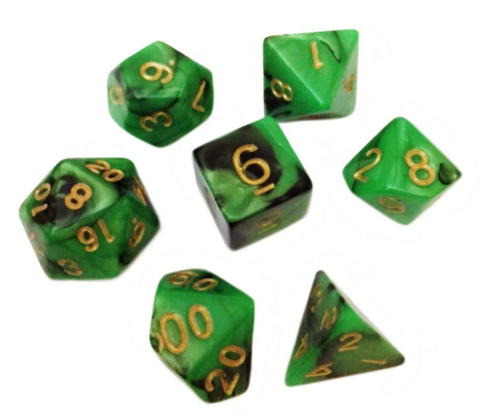 Polyhedral Dice Set - Green And Black Swirled Color - Pack Of 7 Polyhedral Dice (7 Die In Set) | Role Playing Game Dice | D4, D6, D8, D10, D%, D12, And D20