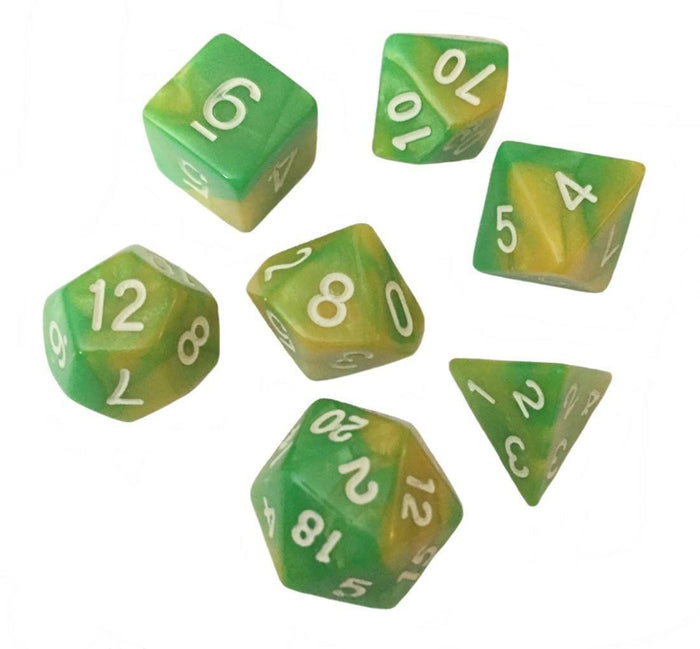 Polyhedral Dice Set - Green And Yellow Swirled Color - Pack Of 7 Polyhedral Dice (7 Die In Set) | Role Playing Game Dice | D4, D6, D8, D10, D%, D12, And D20