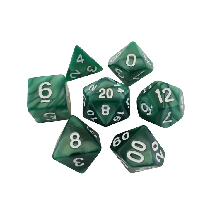 Polyhedral Dice Set - Green Marbled Dice -  7 Polyhedral RPG Dice For D&D