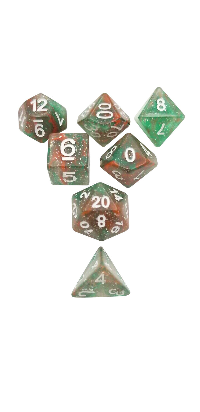 Polyhedral Dice Set - Green Red Sparkle Set Of 7 Polyhedral RPG Dice For D&D