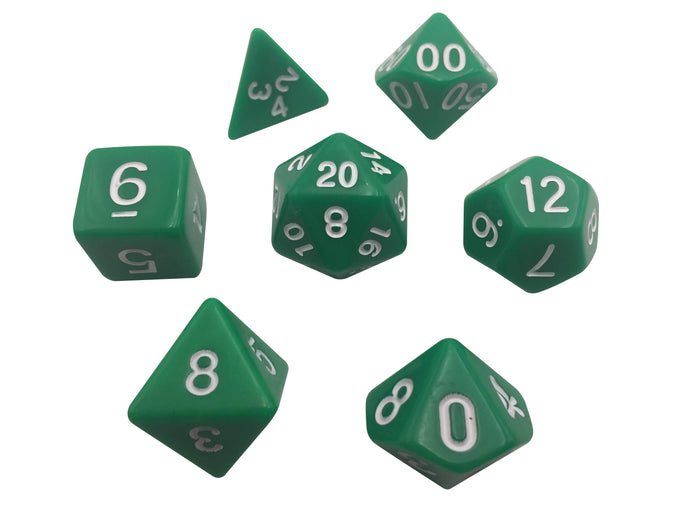 Polyhedral Dice Set - Green With White Numbers  Set Of 7 Polyhedral RPG Dice