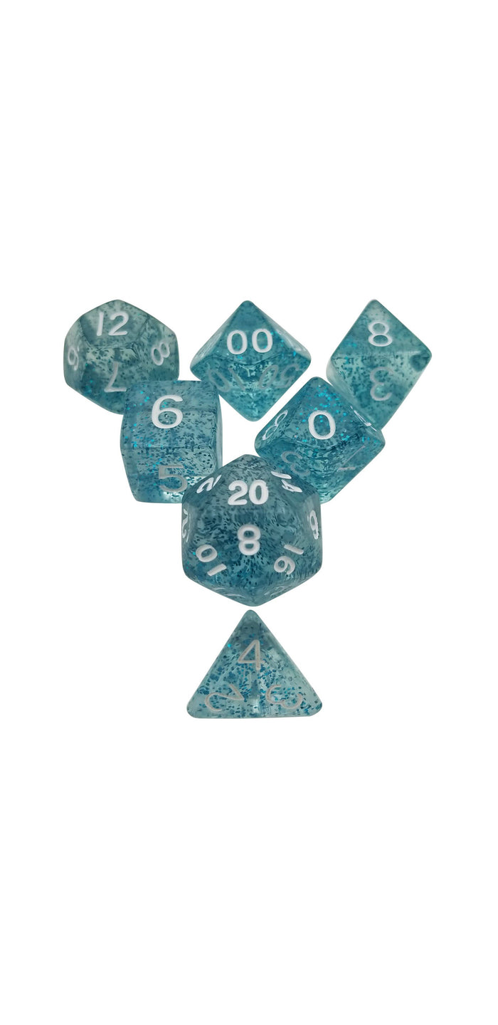 Polyhedral Dice Set - Ice Blue Glitter - Pack Of 7 Polyhedral Dice (7 Die In Set) | Role Playing Game Dice | D4, D6, D8, D10, D%, D12, And D20