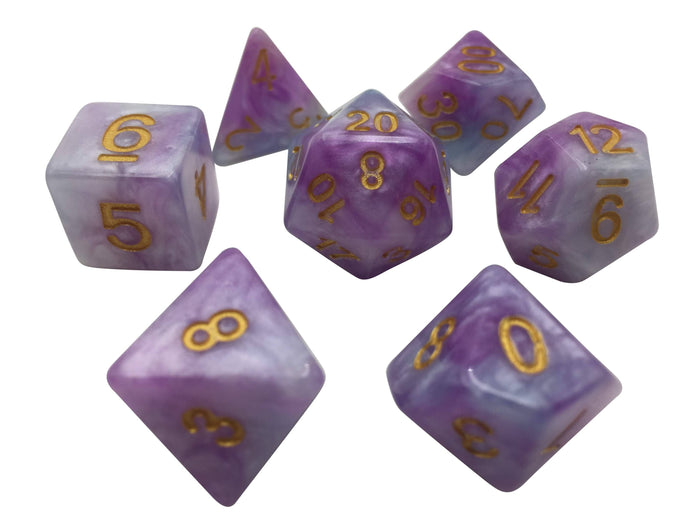 Polyhedral Dice Set - Lavender And White With Gold Numbers - Pack Of 7 Polyhedral Dice (7 Die In Set) | Role Playing Game Dice | D4, D6, D8, D10, D%, D12, And D20