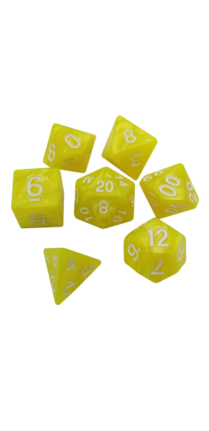 Polyhedral Dice Set - Lemon Drop - Set Of 7  Yellow And White Swirl Polyhedral RPG Dice For D&D