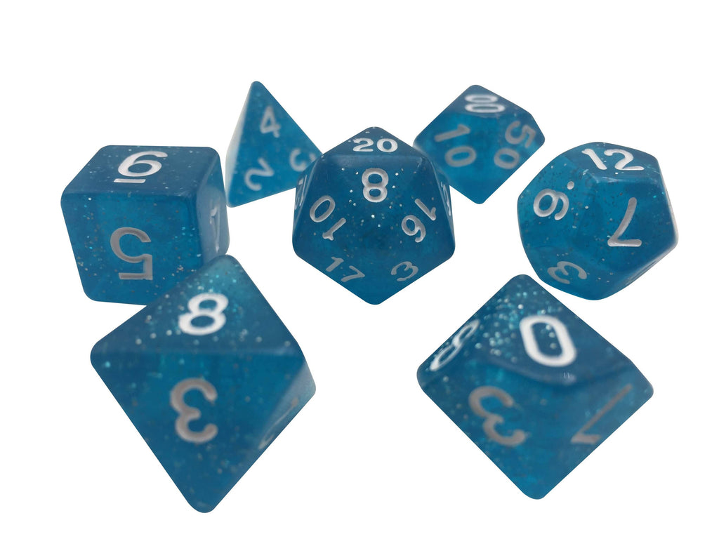 Polyhedral Dice Set - Light Blue Translucent Color With Glitter - Set  7 Polyhedral RPG Dice With White Numbers