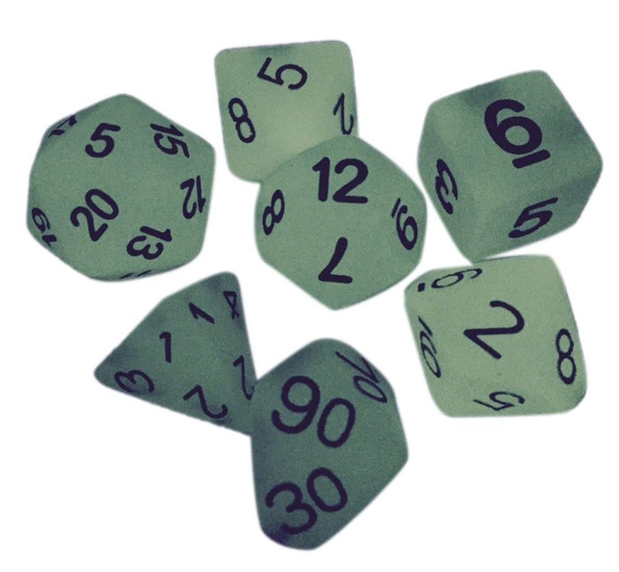 Polyhedral Dice Set - Light Green Glow In The Dark - Pack Of 7 Polyhedral Dice (7 Die In Set) | Role Playing Game Dice | D4, D6, D8, D10, D%, D12, And D20