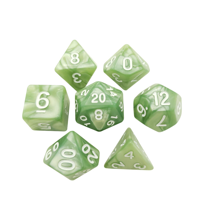 Polyhedral Dice Set - Light Green Marbled Dice -  7 Polyhedral RPG Dice For D&D