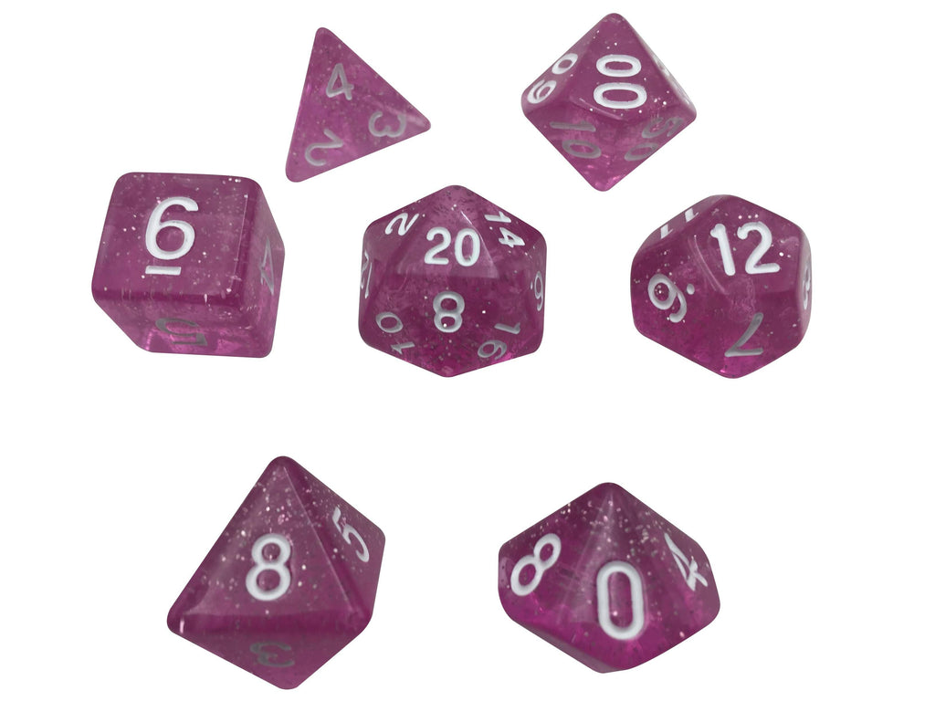 Polyhedral Dice Set - Light Pink Translucent Color With Glitter - Set  7 Polyhedral RPG Dice With White Numbers