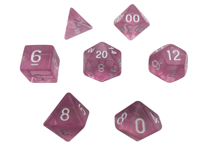 Polyhedral Dice Set - Light Pink Translucent - Set Of 7 Polyhedral RPG Dice - Role Playing Game Dice