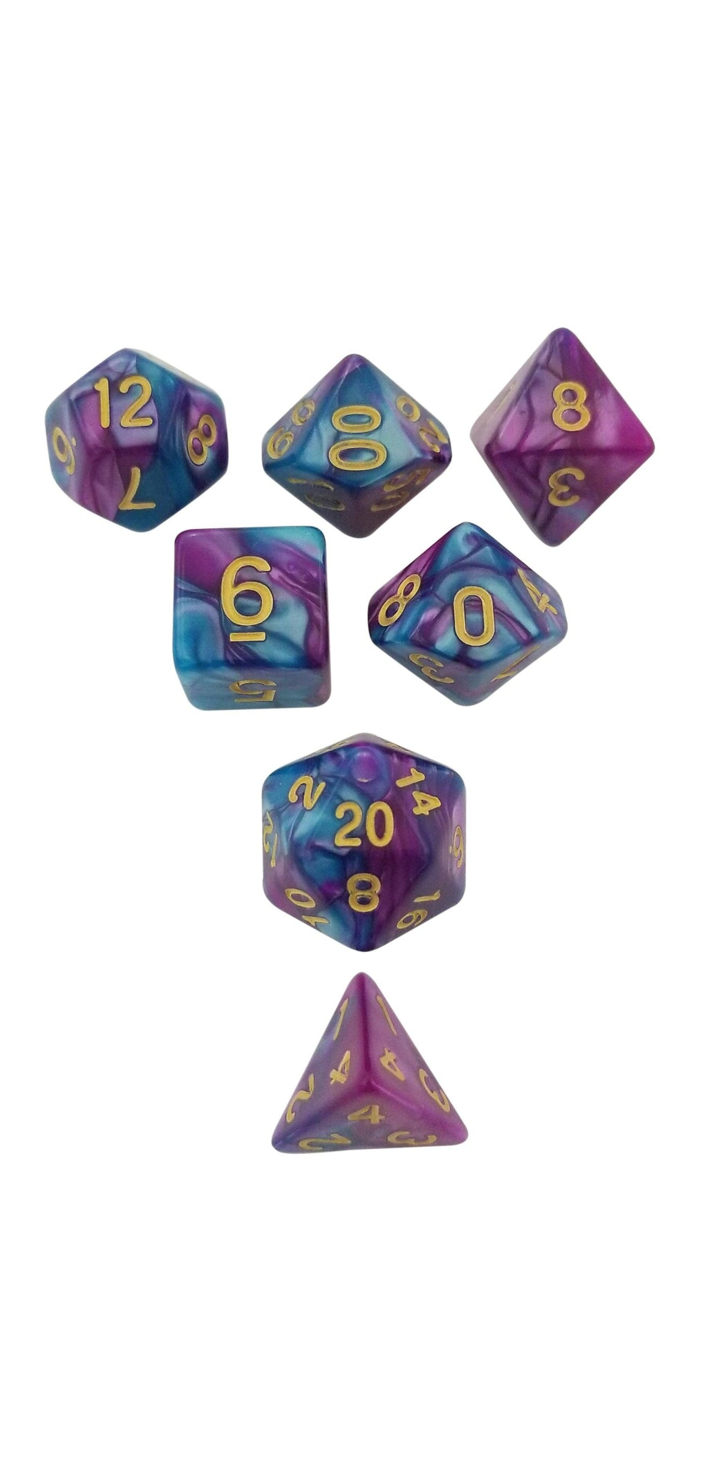 Old Magic - Rich Purple Blue Swirl Set of 7 Polyhedral RPG Dice for D&D