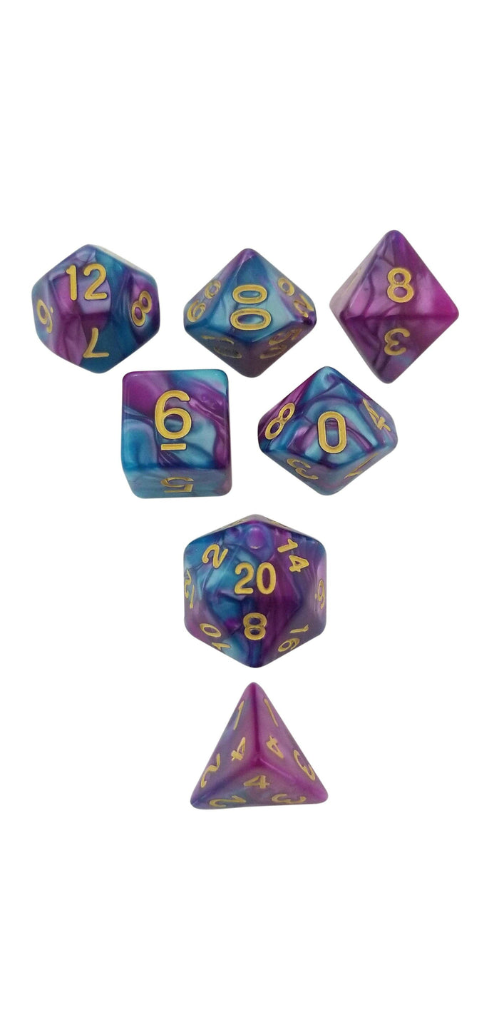 Polyhedral Dice Set - Old Magic - Rich Purple Blue Swirl Set Of 7 Polyhedral RPG Dice For D&D