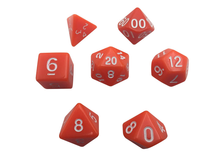 Polyhedral Dice Set - Orange Color With White Numbers  Set Of 7 Polyhedral RPG Dice