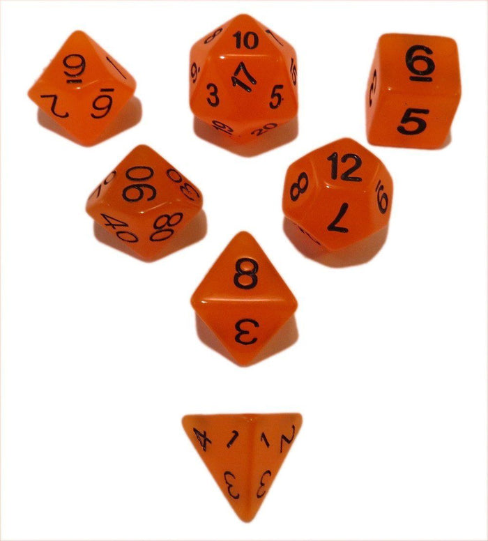 Polyhedral Dice Set - Orange Glow In The Dark - Pack Of 7 Polyhedral Dice (7 Die In Set) | Role Playing Game Dice | D4, D6, D8, D10, D%, D12, And D20
