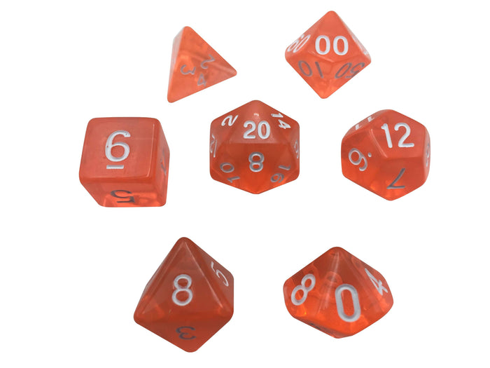 Polyhedral Dice Set - Orange Translucent Color - Set  7 Polyhedral RPG Dice With White Numbers