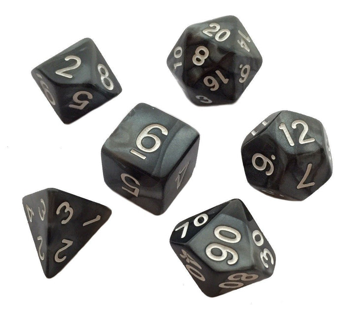 Polyhedral Dice Set - Pack Of 7 Polyhedral Dice (7 Die In Set) | Role Playing Game Dice | D4, D6, D8, D10, D%, D12, And D20 | Black Marbled Color