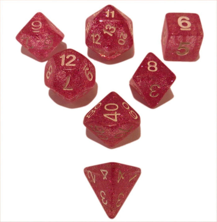 Polyhedral Dice Set - Pink Glitter - Pack Of 7 Polyhedral Dice (7 Die In Set) | Role Playing Game Dice | D4, D6, D8, D10, D%, D12, And D20