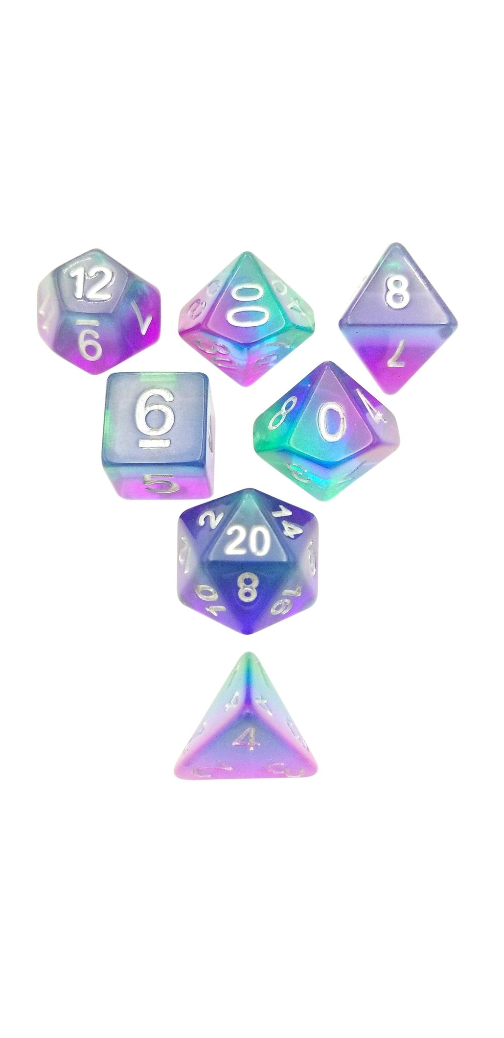Prismatic Doom- Translucent Swirled Set of 7 Polyhedral RPG Dice for D&D