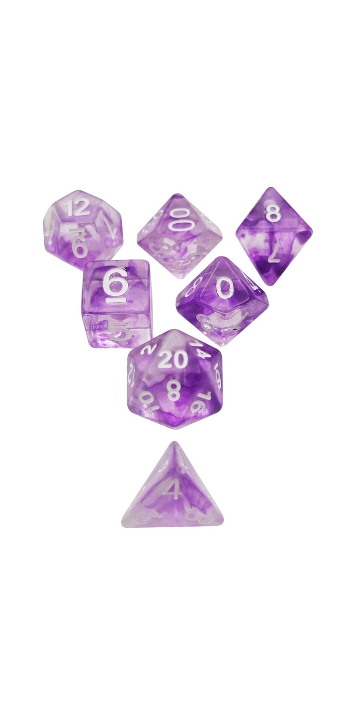 Polyhedral Dice Set - Purple Aether Stone ™ Set Of 7 Polyhedral RPG Dice For D&D