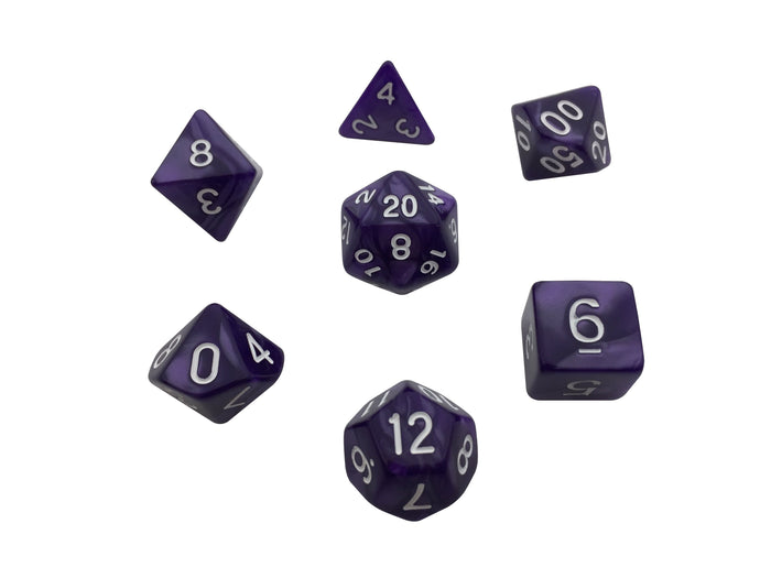 Polyhedral Dice Set - Purple Marbled - Pack Of 7 Polyhedral Dice (7 Die In Set) | Role Playing Game Dice | D4, D6, D8, D10, D%, D12, And D20