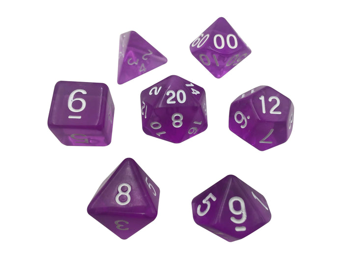 Polyhedral Dice Set - Purple Translucent Color - Set  7 Polyhedral RPG Dice With White Numbers