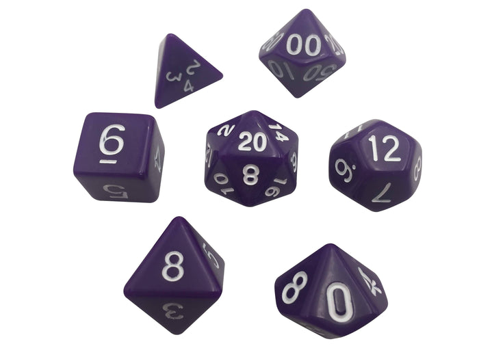 Polyhedral Dice Set - Purple With White Numbers  Set Of 7 Polyhedral RPG Dice