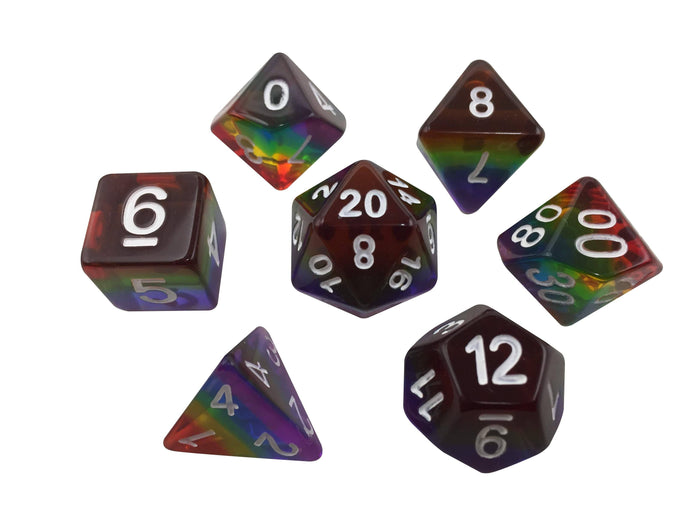 Polyhedral Dice Set - Rainbow - Set Of 7  Rainbow Colored Translucent Polyhedral RPG Dice For Dungeons And Dragons