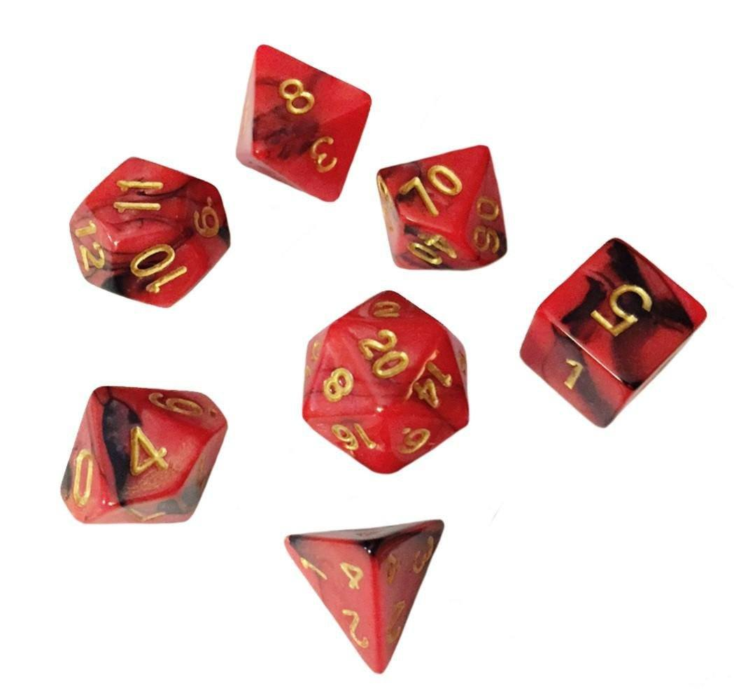 Red and Black Swirled Color - Pack of 7 Polyhedral Dice (7 Die in Set) | Role Playing Game Dice | D4, D6, D8, D10, D%, D12, and D20