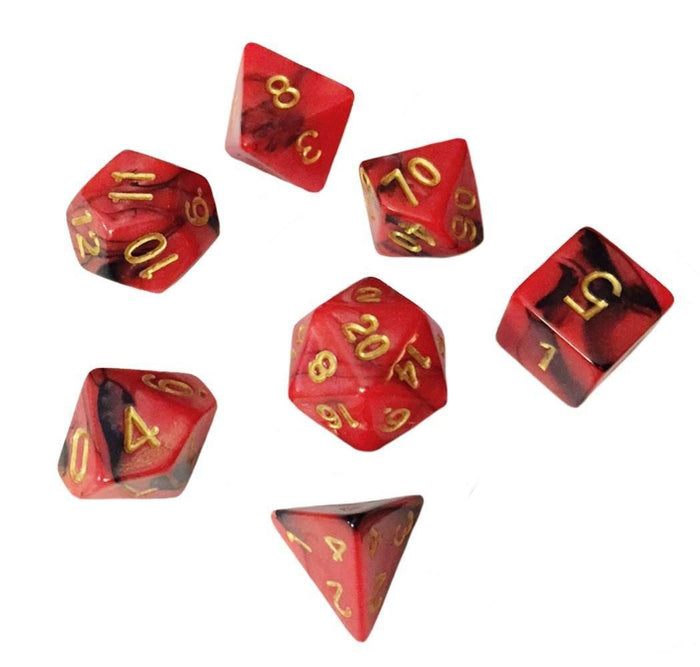 Polyhedral Dice Set - Red And Black Swirled Color - Pack Of 7 Polyhedral Dice (7 Die In Set) | Role Playing Game Dice | D4, D6, D8, D10, D%, D12, And D20