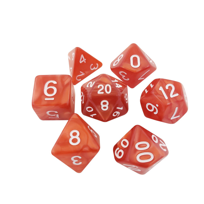 Polyhedral Dice Set - Red Marbled Dice -  7 Polyhedral RPG Dice For D&D
