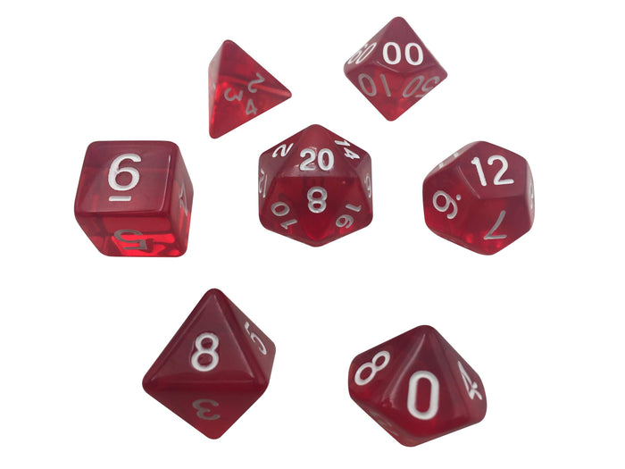 Polyhedral Dice Set - Red Translucent Color - Pack Of 7 Polyhedral Dice (7 Die In Set) | Role Playing Game Dice | D4, D6, D8, D10, D%, D12, And D20