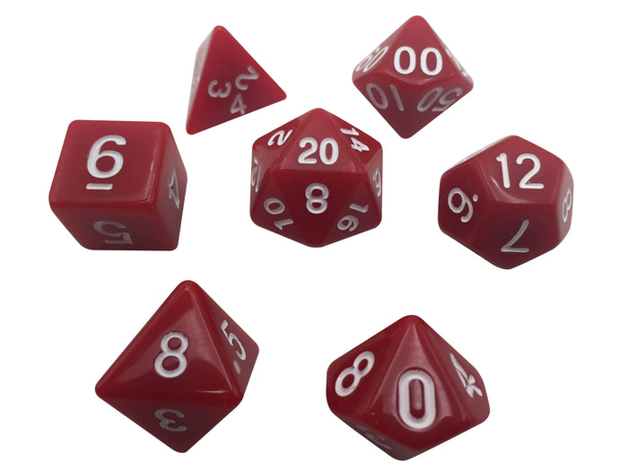 Polyhedral Dice Set - Red With White Numbers  Set Of 7 Polyhedral RPG Dice