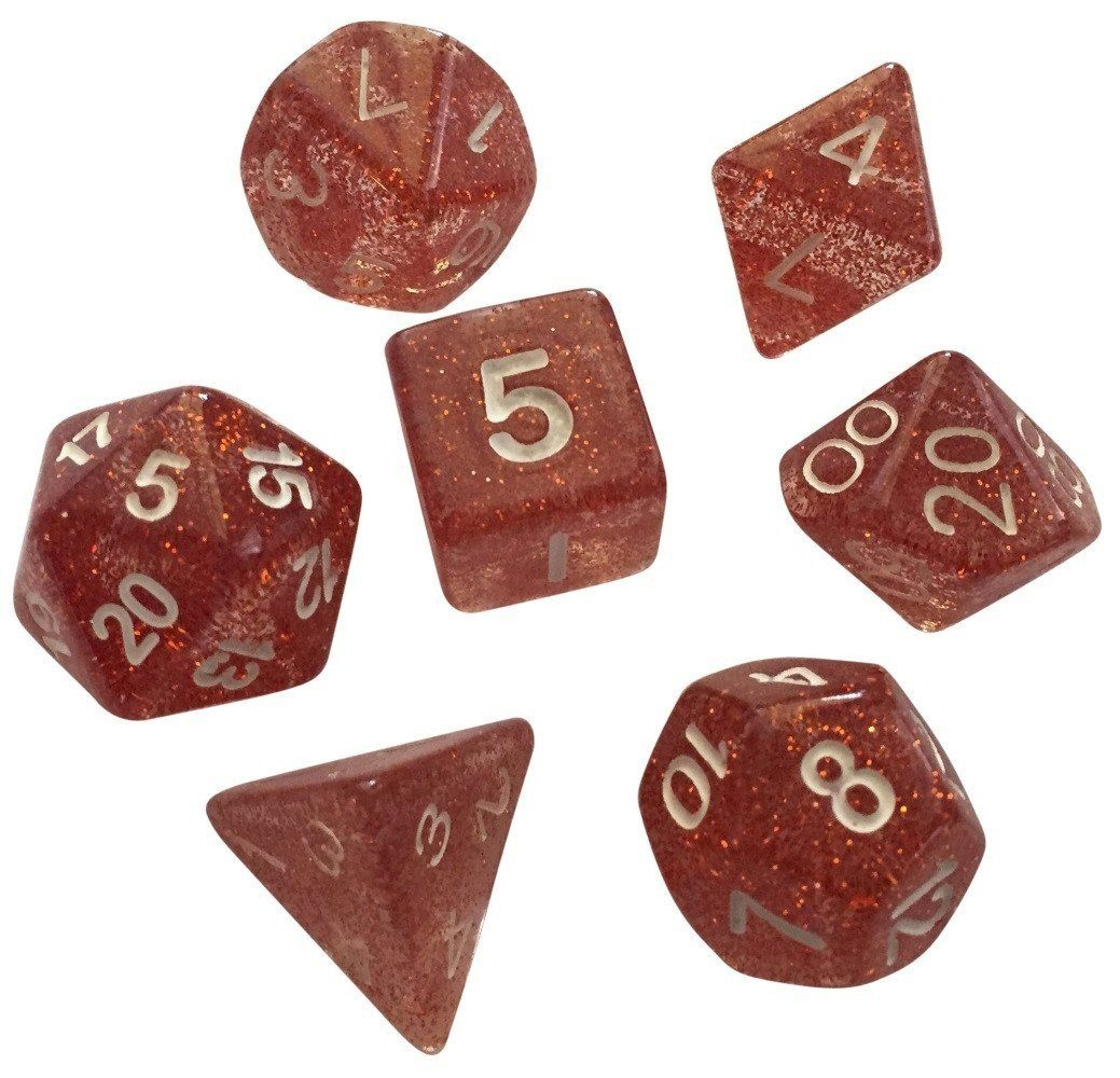Rose Glitter - Pack of 7 Polyhedral Dice (7 Die in Set) | Role Playing Game Dice | D4, D6, D8, D10, D%, D12, and D20