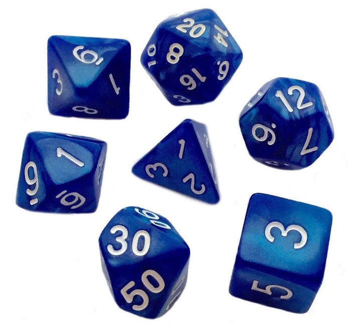 Polyhedral Dice Set - Set Of 7 Polyhedral RPG Dice (7 Die In Set) | Role Playing Game Dice  For Dungeons And Dragons | Blue Marbled Color