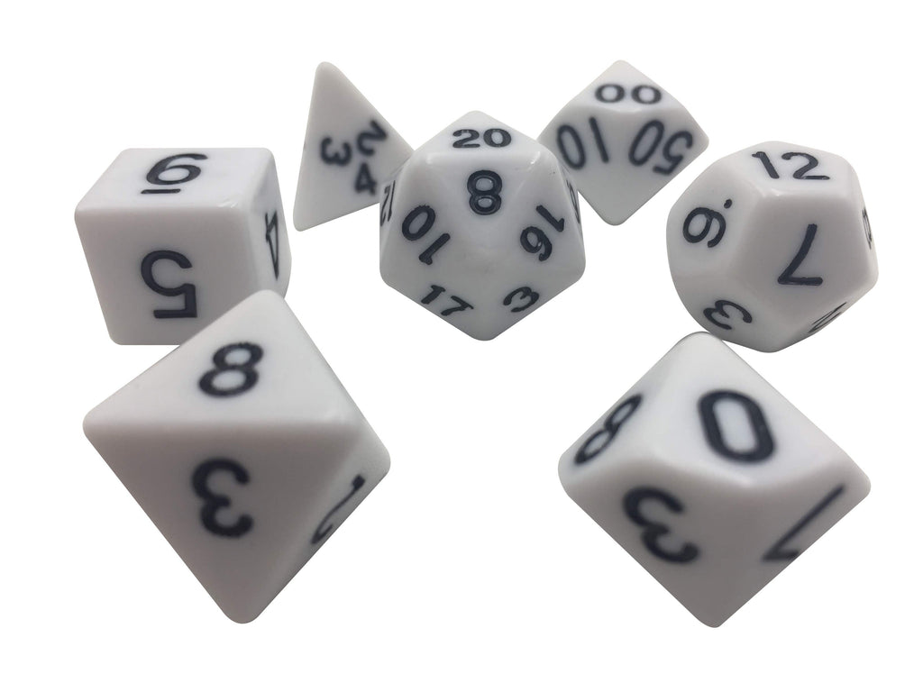 Polyhedral Dice Set - Solid White Color With Black Numbers  Set Of 7 Polyhedral RPG Dice