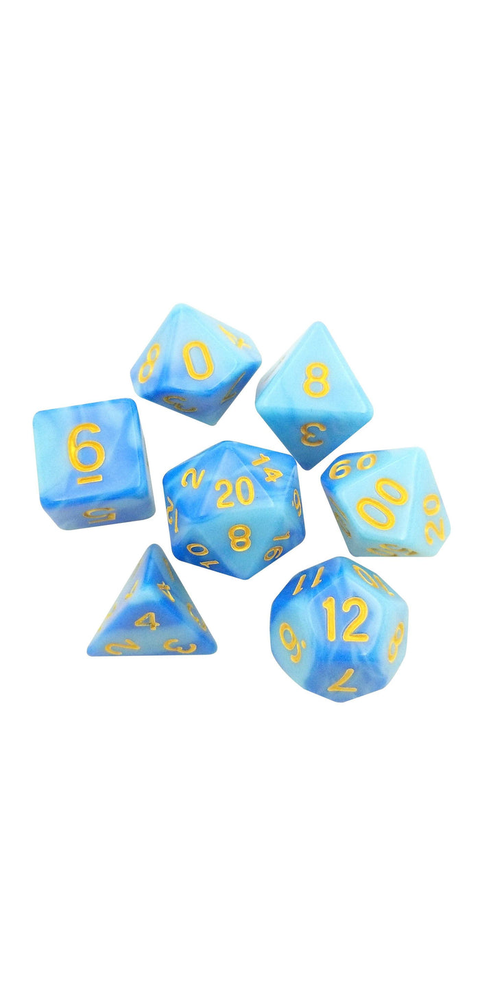 Polyhedral Dice Set - Stormblessed  - Light And Dark Blue Swirled Set Of 7 Polyhedral RPG Dice For D&D