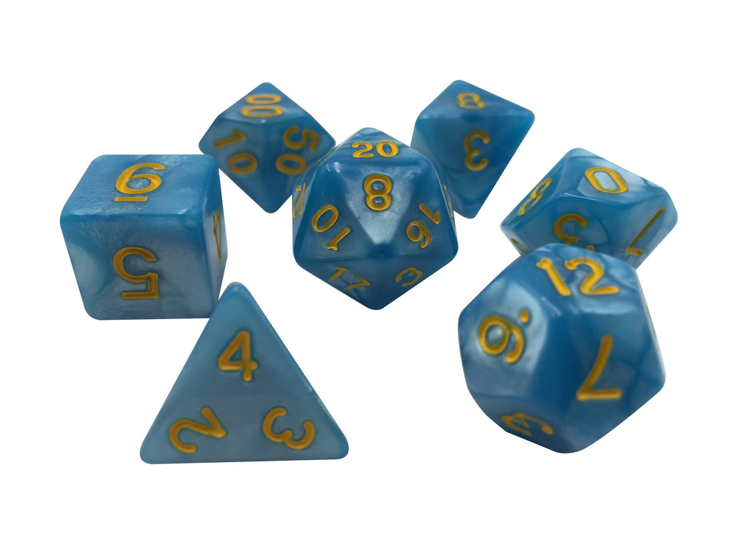 Polyhedral Dice Set - Thunder Born - Set Of 7  Light Blue Marbled With Gold Numbering Polyhedral RPG Dice For Dungeons And Dragons