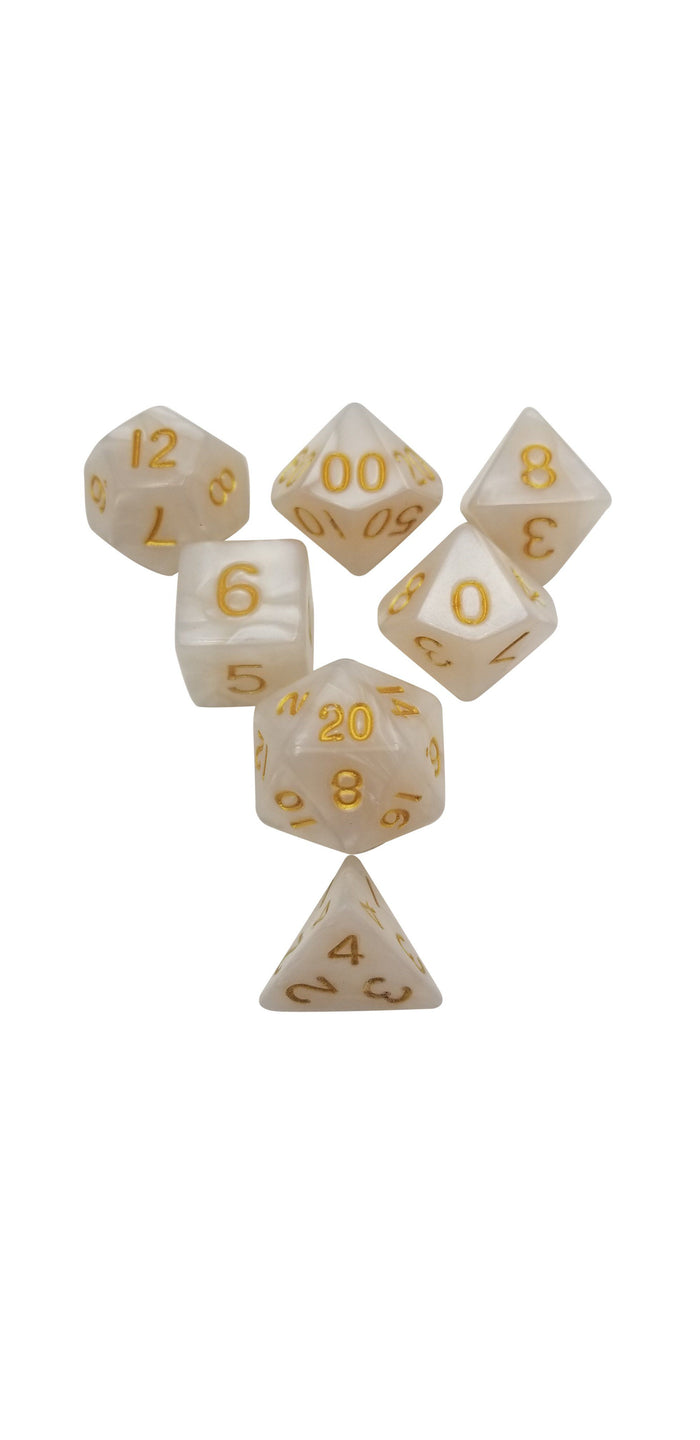 Polyhedral Dice Set - White Marbled Set Of 7 Polyhedral RPG Dice For D&D