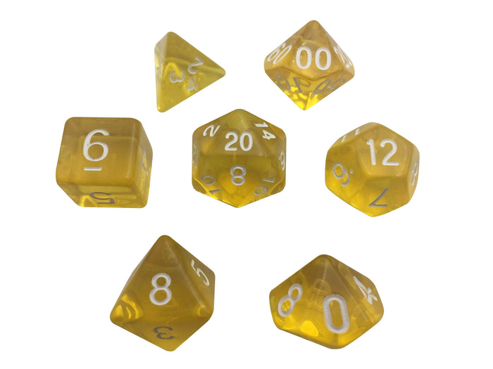 Polyhedral Dice Set - Yellow Translucent Color - Set  7 Polyhedral RPG Dice With White Numbers