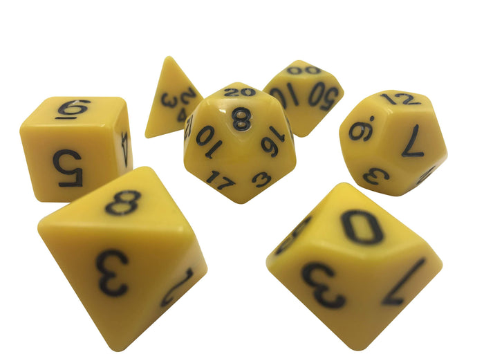 Polyhedral Dice Set - Yellow With Black Numbers  Set Of 7 Polyhedral RPG Dice