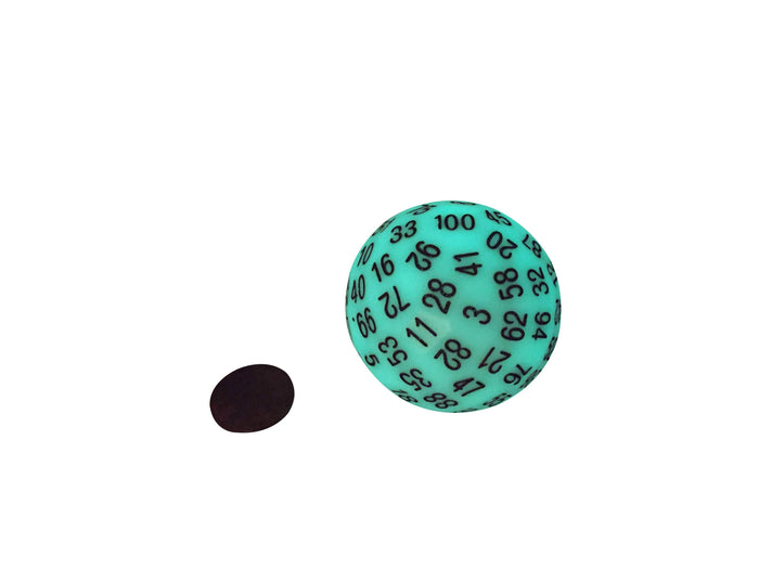 Polyhedral Dice - Single 100 Sided Polyhedral Dice (D100) | Glow In The Dark  (Green) With Black Numbering (45mm)