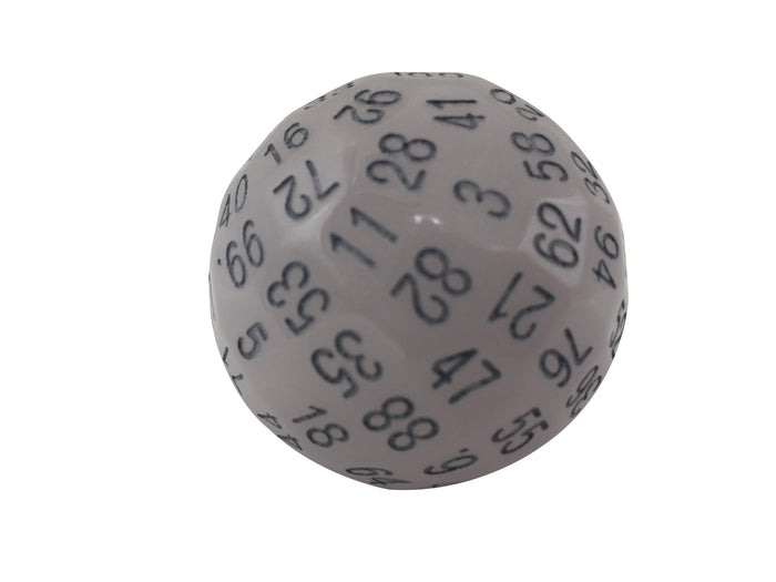 Polyhedral Dice - Single 100 Sided Polyhedral Dice (D100) | Light Blue Glow In The Dark  With Black Numbering (45mm)